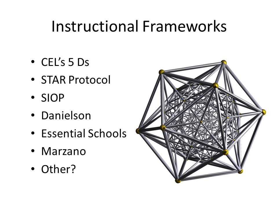 Instructional Frameworks CEL's 5 Ds STAR Protocol SIOP Danielson Essential Schools Marzano Other