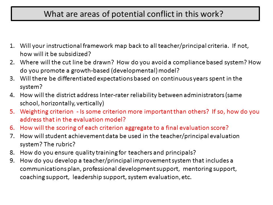 What are areas of potential conflict in this work.