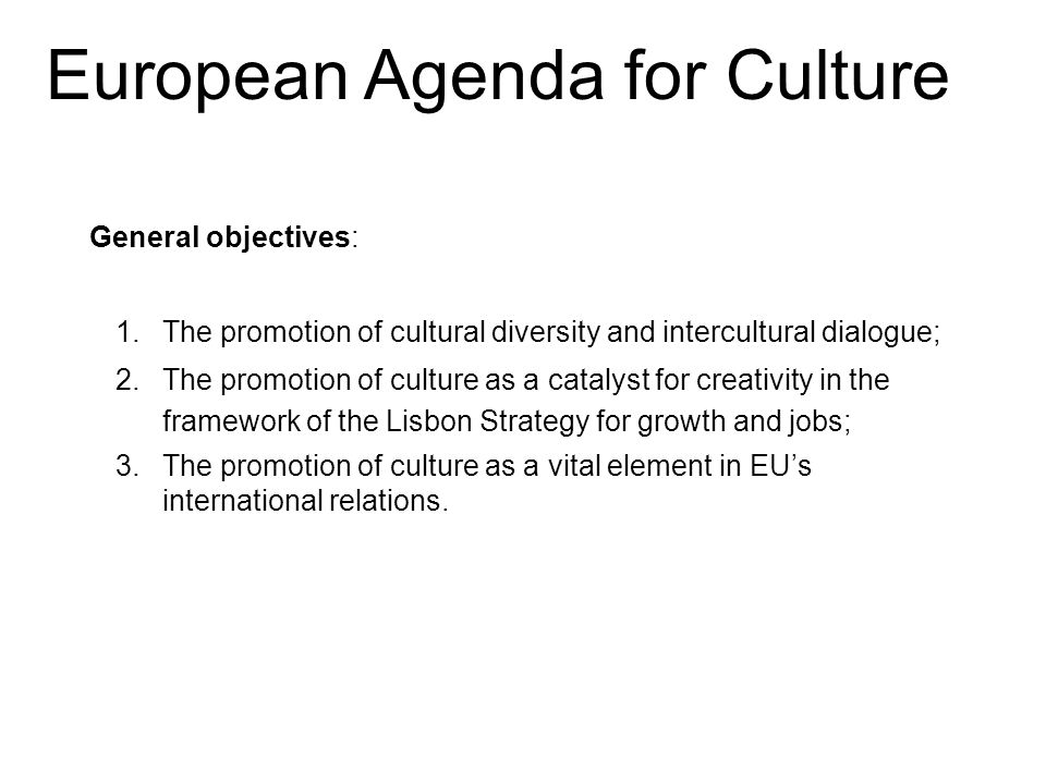 General objectives: 1.The promotion of cultural diversity and intercultural dialogue; 2.The promotion of culture as a catalyst for creativity in the framework of the Lisbon Strategy for growth and jobs; 3.The promotion of culture as a vital element in EU's international relations.
