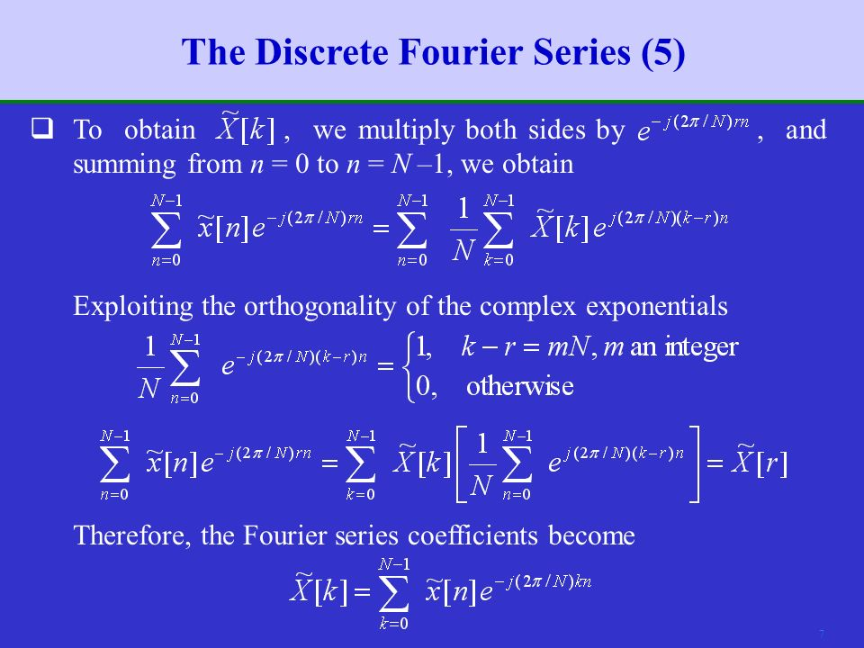 6 The Discrete Fourier Series (4)  Denote.