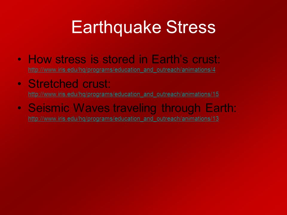 Earthquake Stress How stress is stored in Earth's crust:     Stretched crust:     Seismic Waves traveling through Earth: