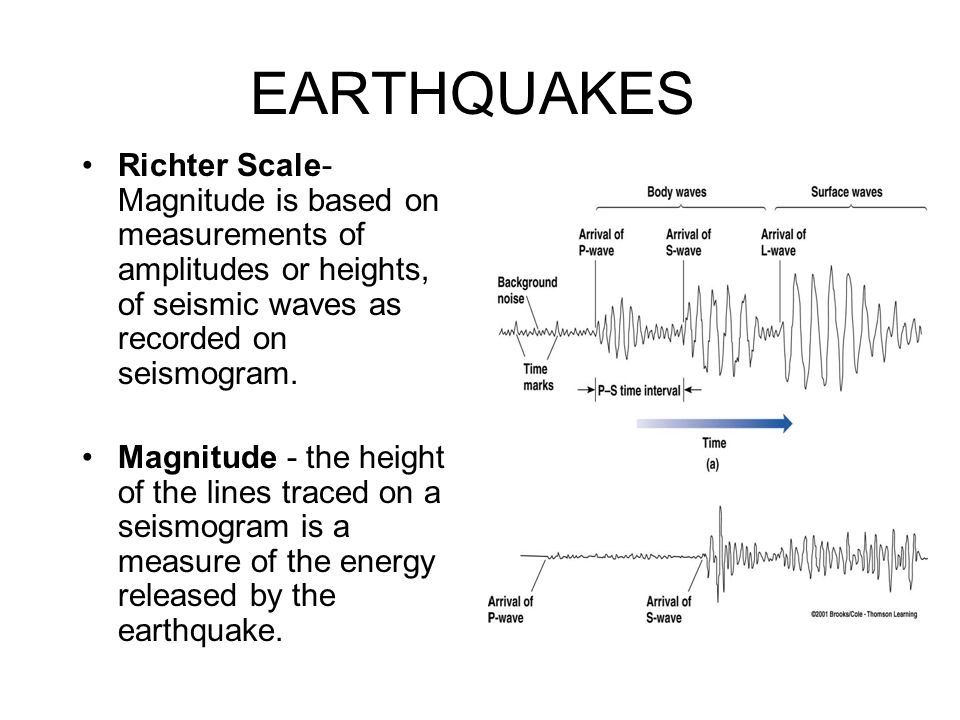 EARTHQUAKES Richter Scale- Magnitude is based on measurements of amplitudes or heights, of seismic waves as recorded on seismogram.