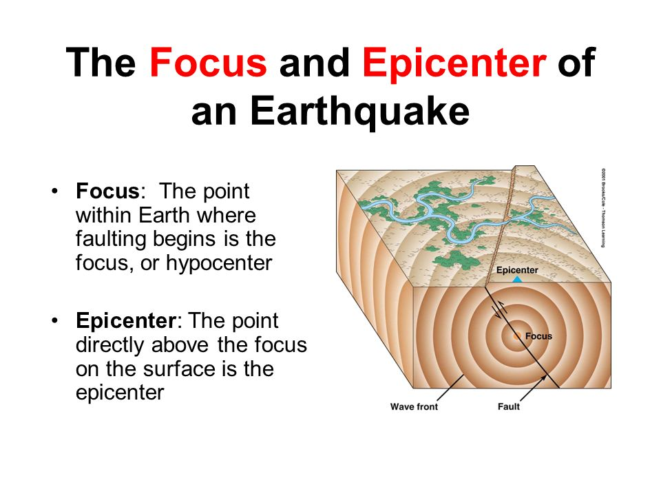 The Focus and Epicenter of an Earthquake Focus: The point within Earth where faulting begins is the focus, or hypocenter Epicenter: The point directly above the focus on the surface is the epicenter
