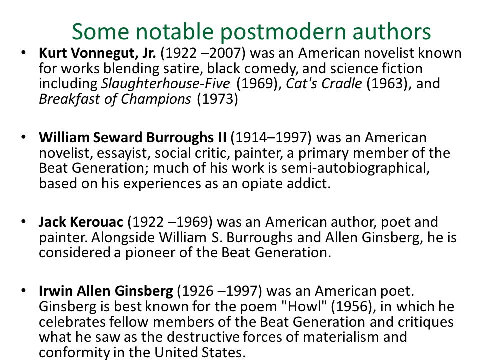 who is a postmodern author