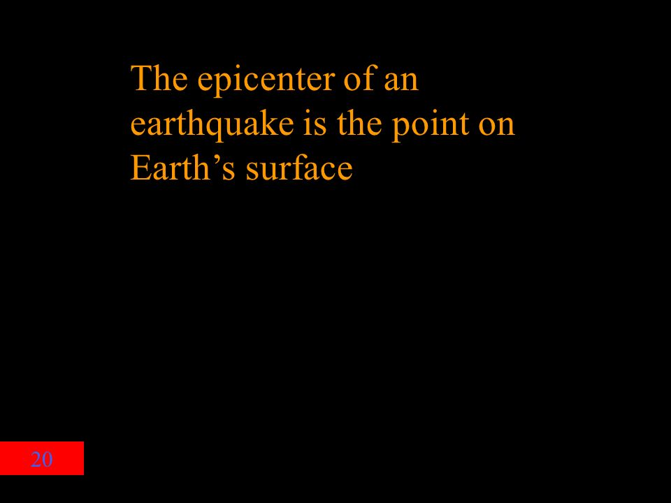 20 The epicenter of an earthquake is the point on Earth's surface