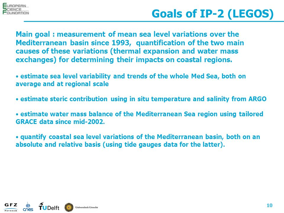 10 Goals of IP-2 (LEGOS) Main goal : measurement of mean sea level variations over the Mediterranean basin since 1993, quantification of the two main causes of these variations (thermal expansion and water mass exchanges) for determining their impacts on coastal regions.