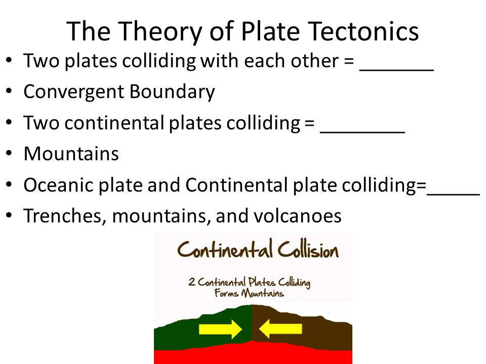 The Theory of Plate Tectonics Two plates colliding with each other = _______ Convergent Boundary Two continental plates colliding = ________ Mountains Oceanic plate and Continental plate colliding=_____ Trenches, mountains, and volcanoes
