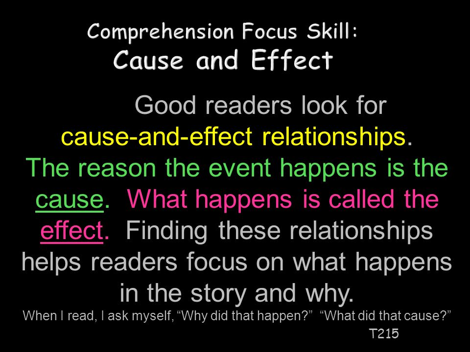 Comprehension Focus Skill: Cause and Effect T215 Good readers look for cause-and-effect relationships.