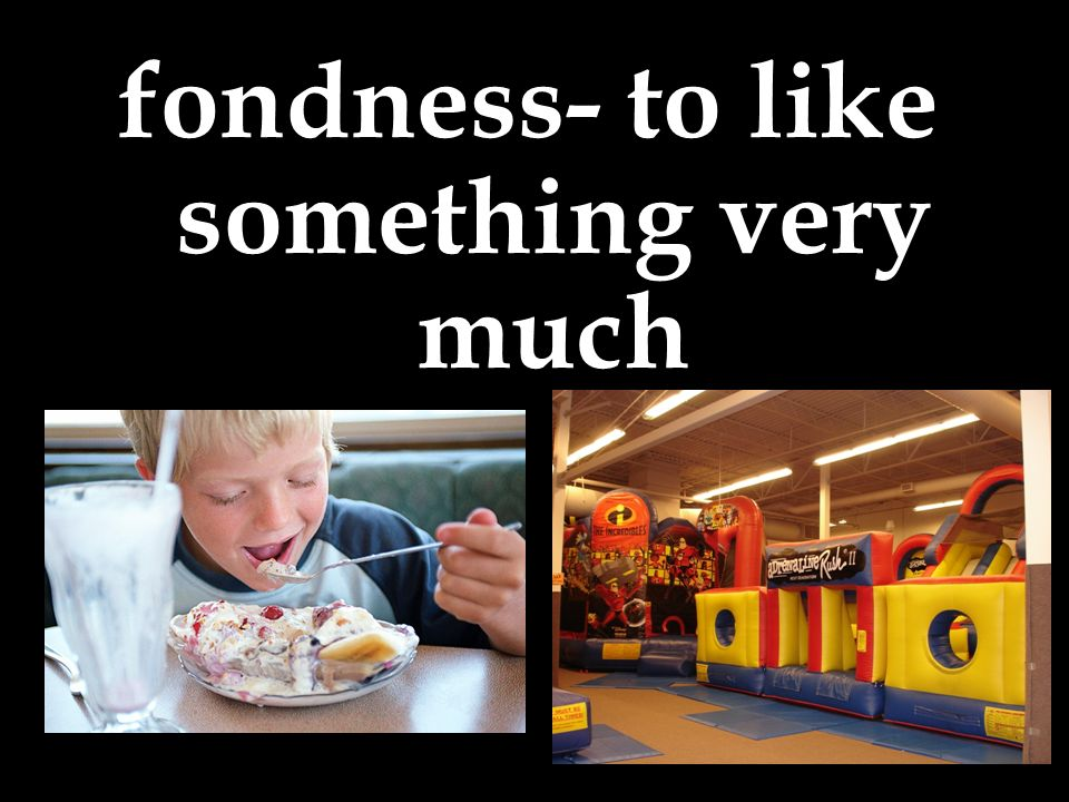 fondness- to like something very much