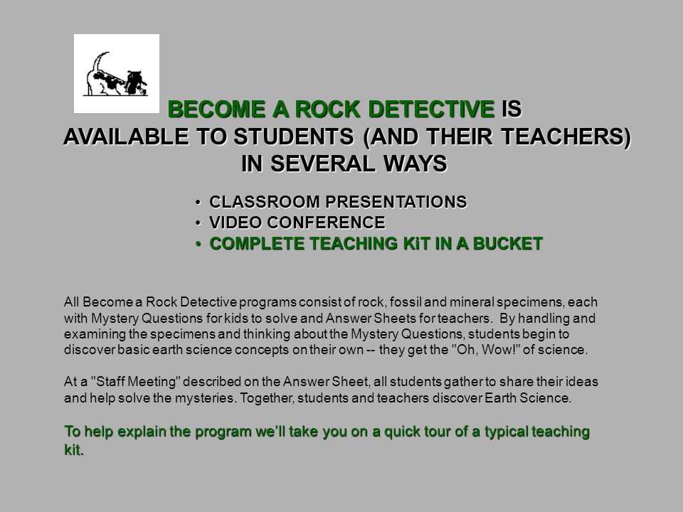 BECOME A ROCK DETECTIVE AN EARTH SCIENCE TEACHING PROGRAM