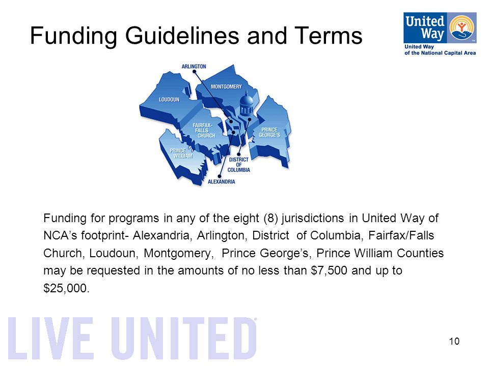 10 Funding Guidelines and Terms Funding for programs in any of the eight (8) jurisdictions in United Way of NCA's footprint- Alexandria, Arlington, District of Columbia, Fairfax/Falls Church, Loudoun, Montgomery, Prince George's, Prince William Counties may be requested in the amounts of no less than $7,500 and up to $25,000.