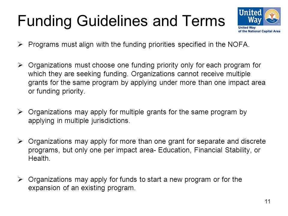 11 Funding Guidelines and Terms  Programs must align with the funding priorities specified in the NOFA.