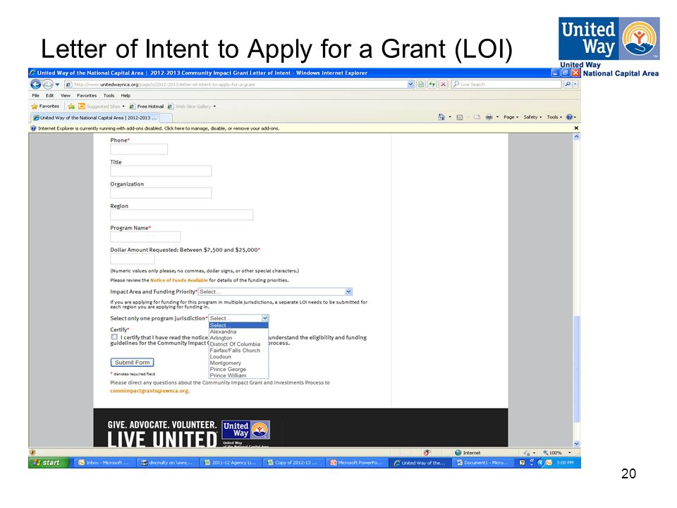 20 Letter of Intent to Apply for a Grant (LOI)