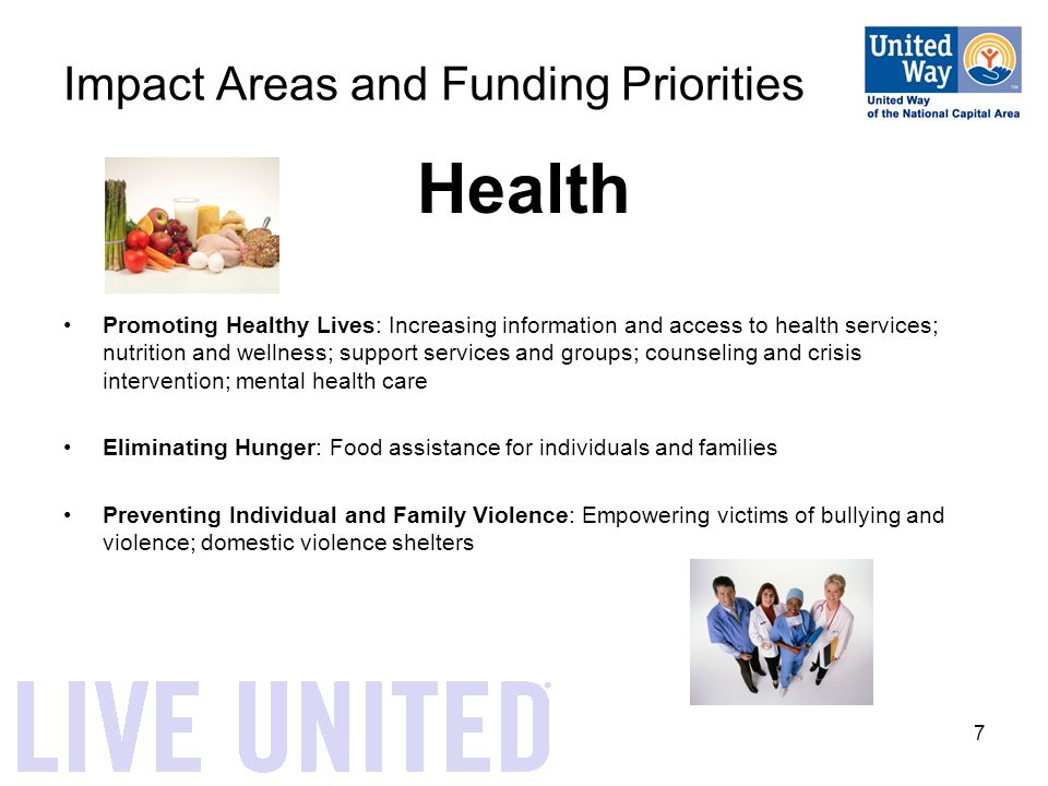 7 Impact Areas and Funding Priorities Health Promoting Healthy Lives: Increasing information and access to health services; nutrition and wellness; support services and groups; counseling and crisis intervention; mental health care Eliminating Hunger: Food assistance for individuals and families Preventing Individual and Family Violence: Empowering victims of bullying and violence; domestic violence shelters