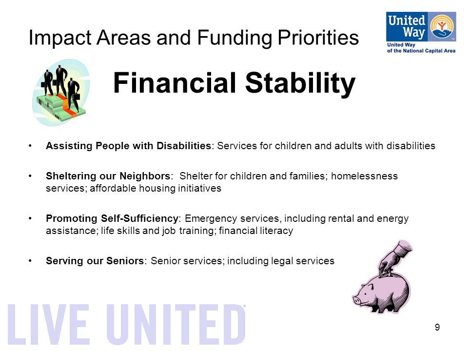 9 Impact Areas and Funding Priorities Financial Stability Assisting People with Disabilities: Services for children and adults with disabilities Sheltering our Neighbors: Shelter for children and families; homelessness services; affordable housing initiatives Promoting Self-Sufficiency: Emergency services, including rental and energy assistance; life skills and job training; financial literacy Serving our Seniors: Senior services; including legal services