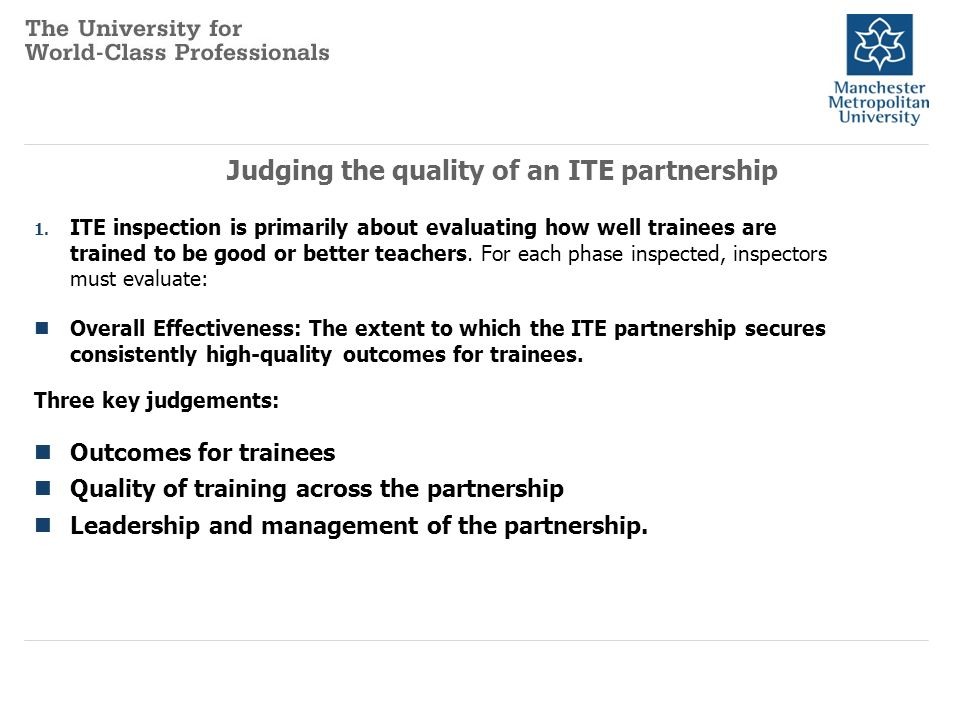 Judging the quality of an ITE partnership 1.ITE inspection is primarily about evaluating how well trainees are trained to be good or better teachers.