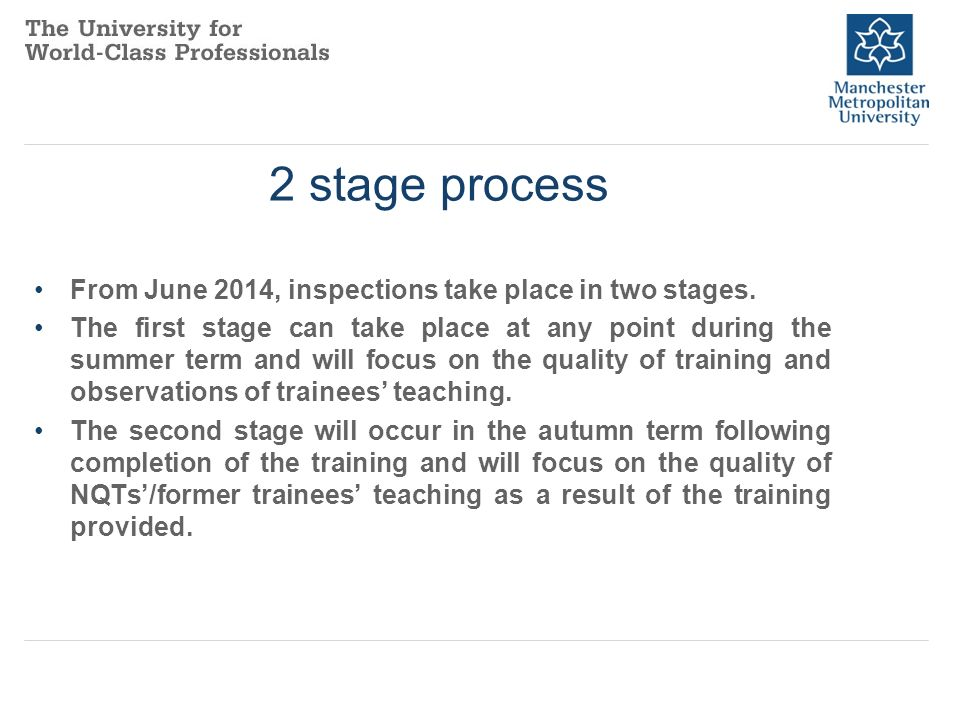 2 stage process From June 2014, inspections take place in two stages.