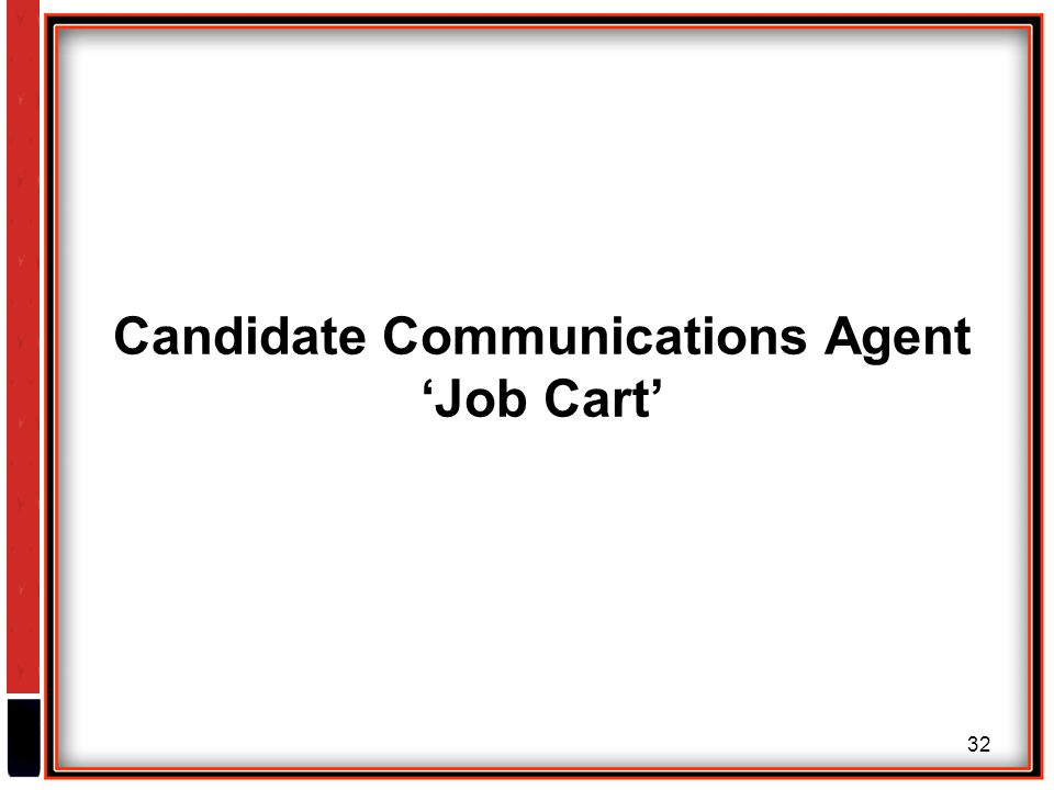 32 Candidate Communications Agent 'Job Cart'