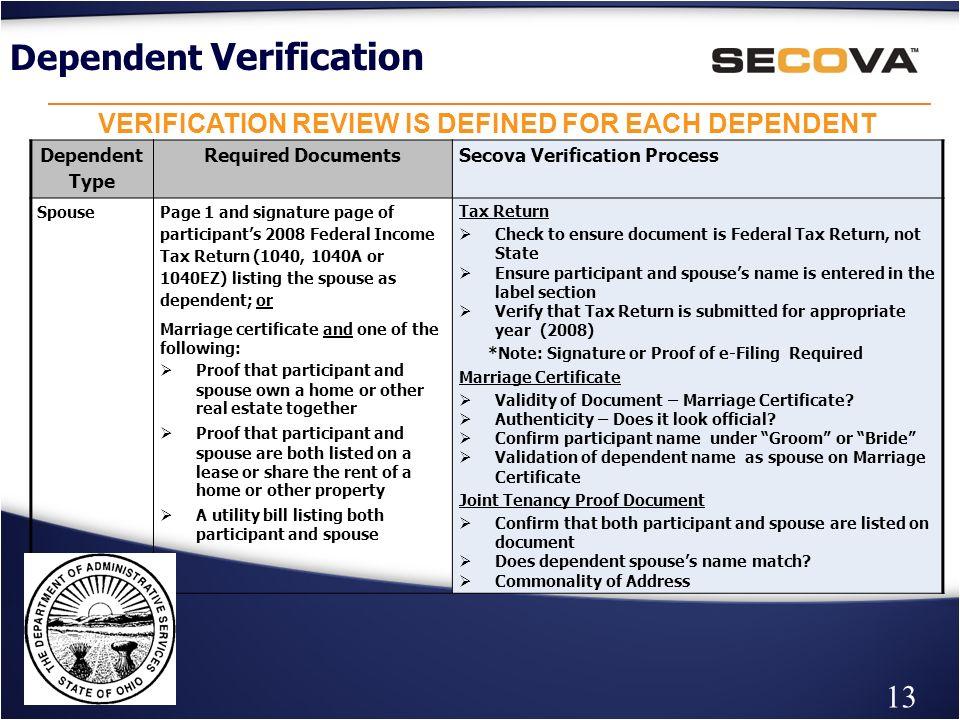 Dependent Eligibility Verification Agency Benefit Coordinators