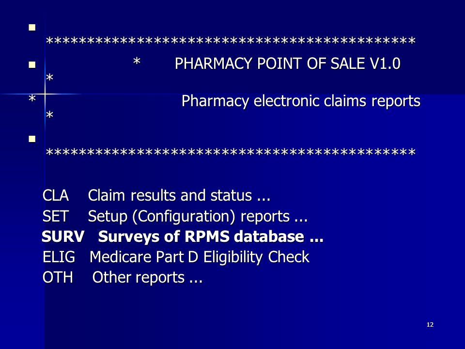 RPMS POS Pharmacy Billing May 17, Agenda POS Basics POS