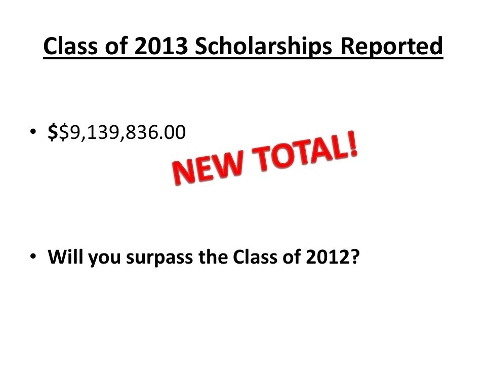 Class of 2013 Scholarships Reported $$9,139, Will you surpass the Class of 2012