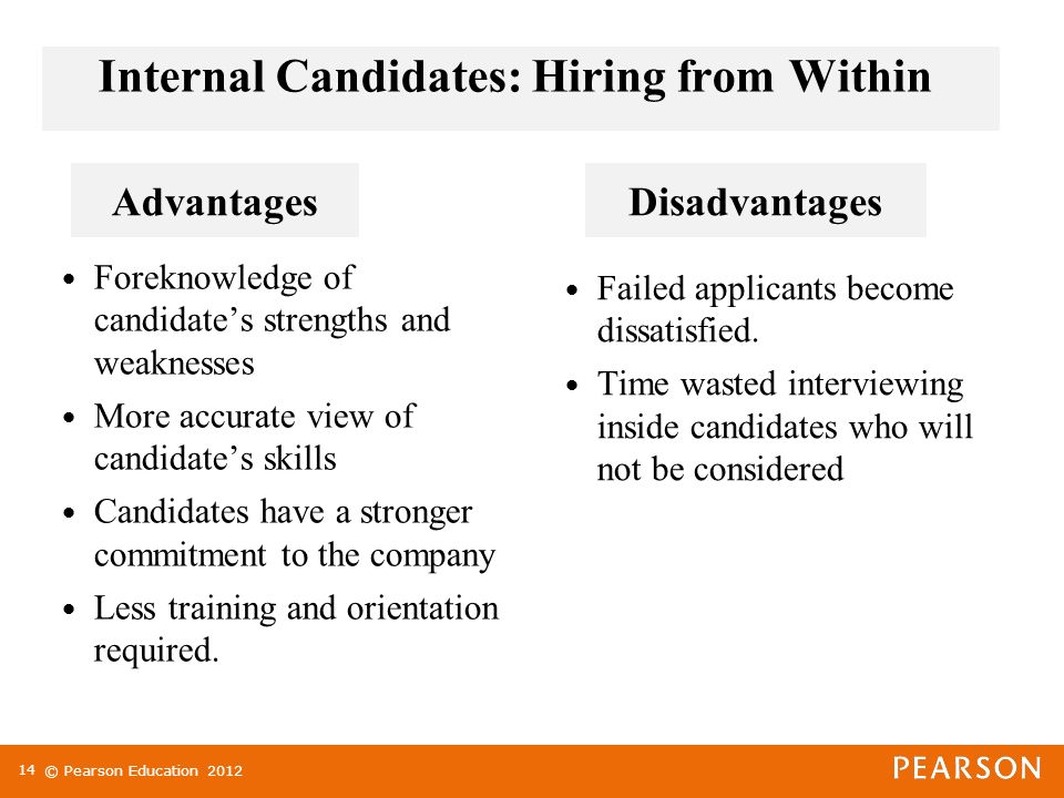 © Pearson Education Internal Candidates: Hiring from Within Foreknowledge of candidate's strengths and weaknesses More accurate view of candidate's skills Candidates have a stronger commitment to the company Less training and orientation required.