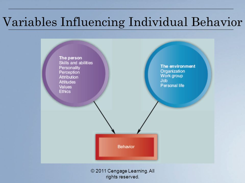 © 2011 Cengage Learning. All rights reserved. Variables Influencing Individual Behavior
