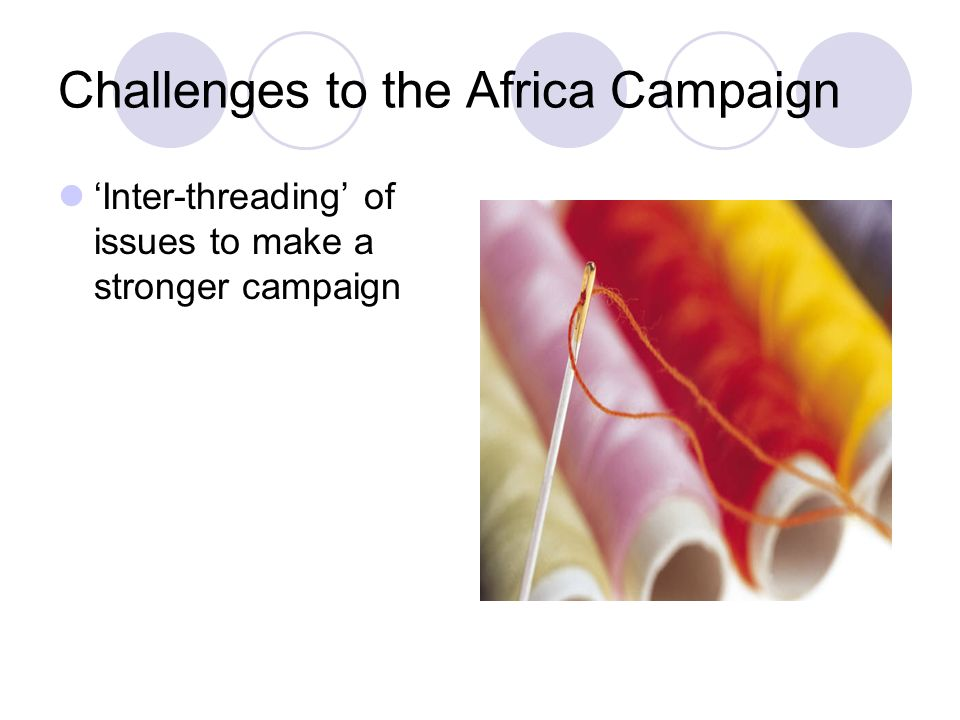 Challenges to the Africa Campaign 'Inter-threading' of issues to make a stronger campaign