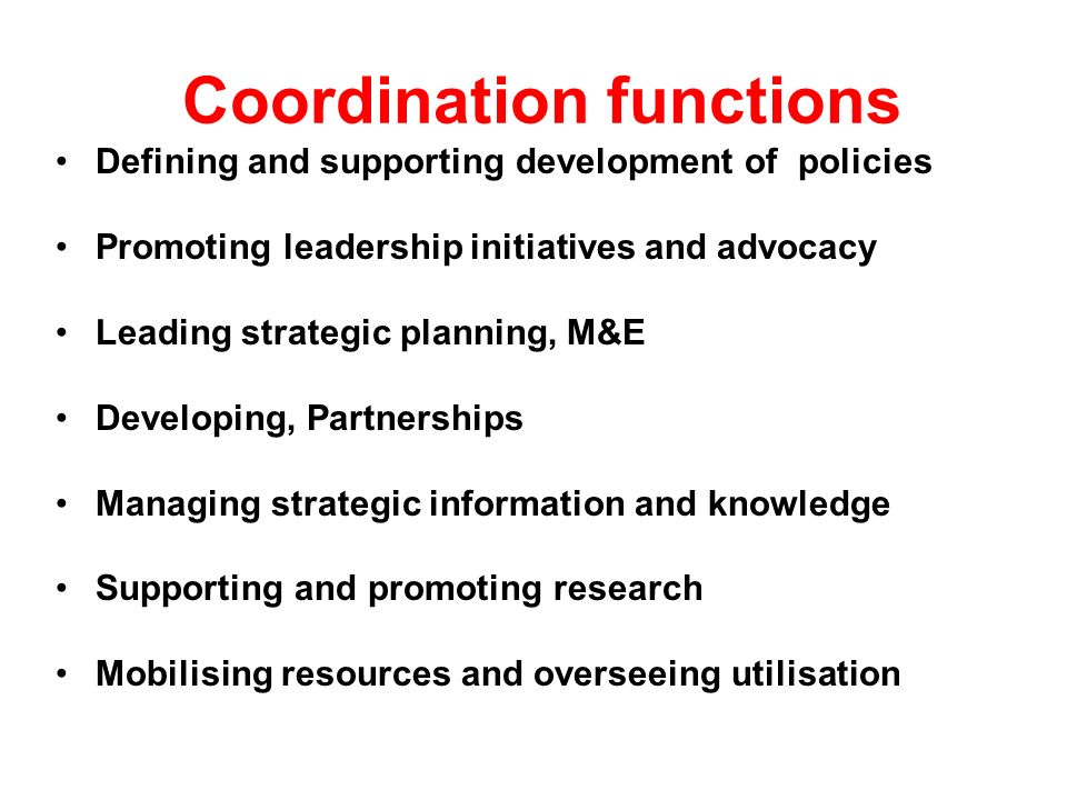 Coordination functions Defining and supporting development of policies Promoting leadership initiatives and advocacy Leading strategic planning, M&E Developing, Partnerships Managing strategic information and knowledge Supporting and promoting research Mobilising resources and overseeing utilisation