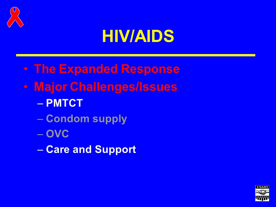 HIV/AIDS The Expanded Response Major Challenges/Issues –PMTCT –Condom supply –OVC –Care and Support