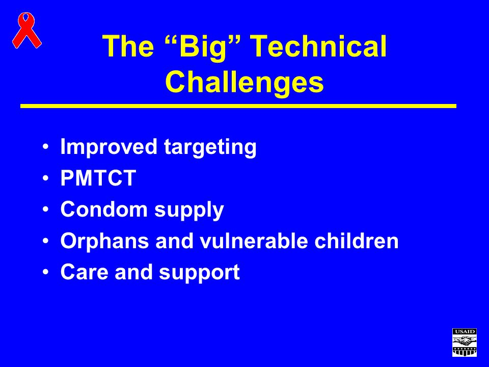 The Big Technical Challenges Improved targeting PMTCT Condom supply Orphans and vulnerable children Care and support