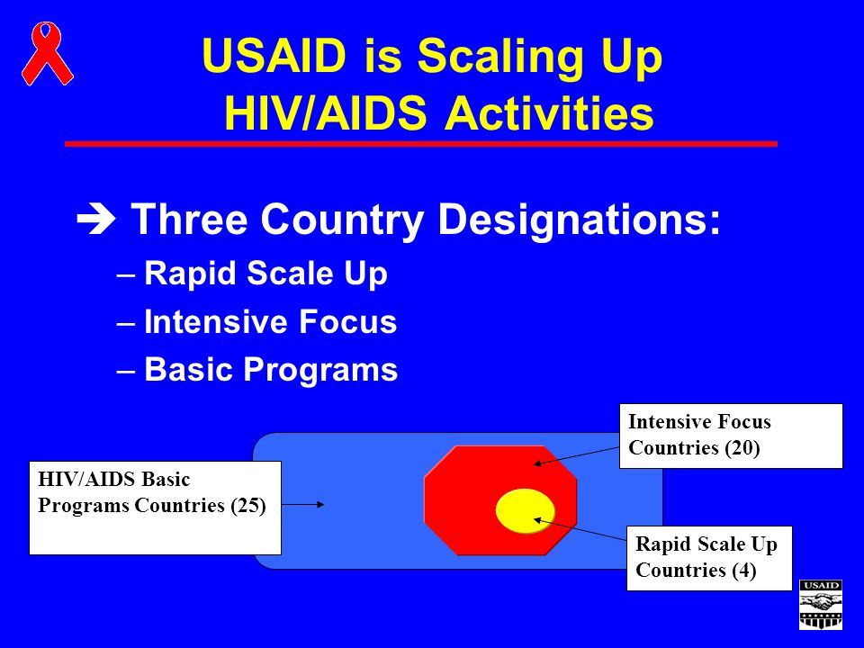 USAID is Scaling Up HIV/AIDS Activities è Three Country Designations: –Rapid Scale Up –Intensive Focus –Basic Programs Intensive Focus Countries (20) Rapid Scale Up Countries (4) HIV/AIDS Basic Programs Countries (25)