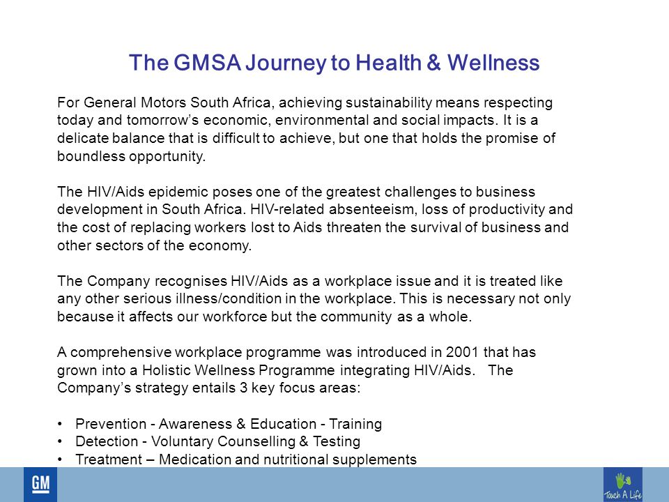 Health And Wellness The Gmsa Journey To Health Wellness For General Motors South Africa Achieving Sustainability Means Respecting Today And Tomorrow S Ppt Download