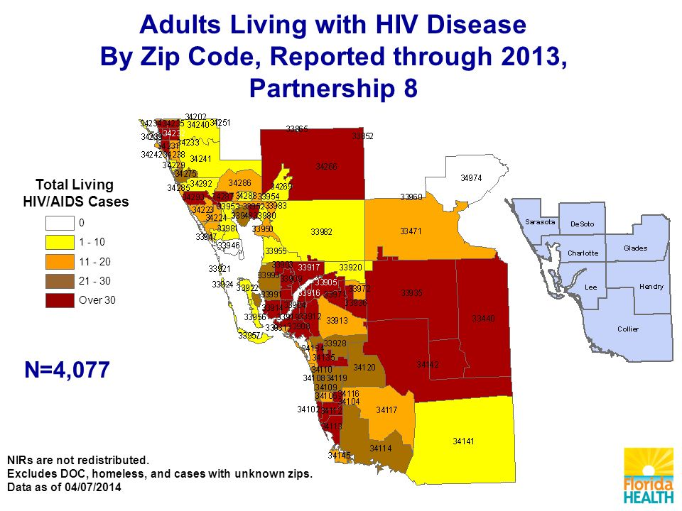 Adults Living with HIV Disease By Zip Code, Reported through 2013, Partnership 8 NIRs are not redistributed.