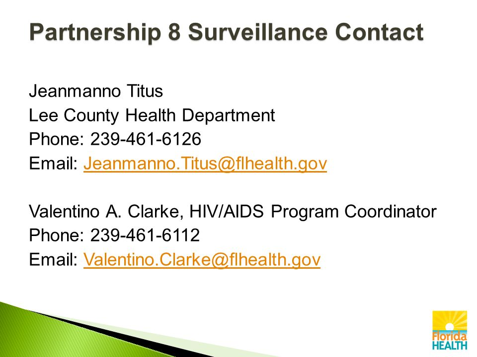Jeanmanno Titus Lee County Health Department Phone: Valentino A.