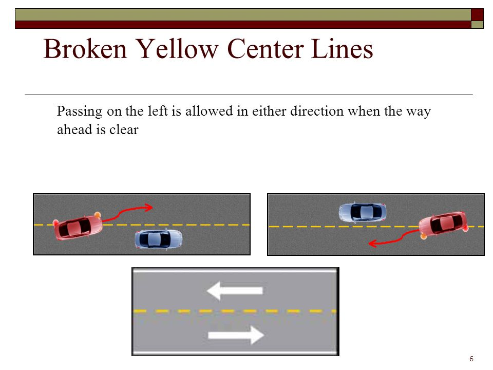 Passing on the left is allowed in either direction when the way ahead is clear 6 Broken Yellow Center Lines