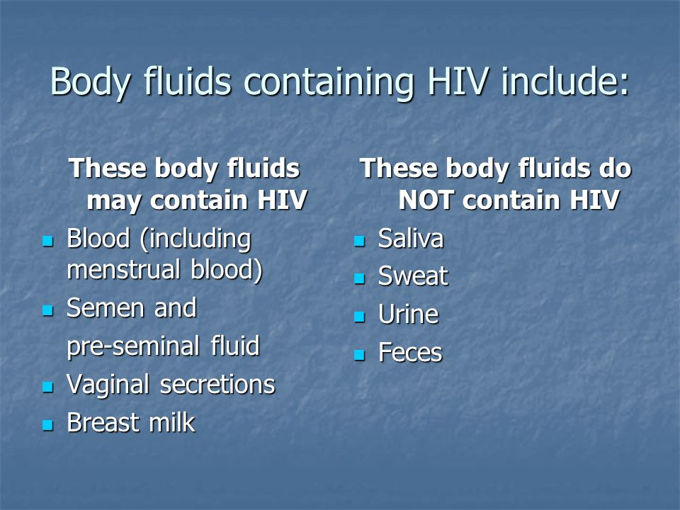 Body fluids containing HIV include: These body fluids may contain HIV Blood (including menstrual blood) Blood (including menstrual blood) Semen and Semen and pre-seminal fluid Vaginal secretions Vaginal secretions Breast milk Breast milk These body fluids do NOT contain HIV Saliva Saliva Sweat Sweat Urine Urine Feces Feces