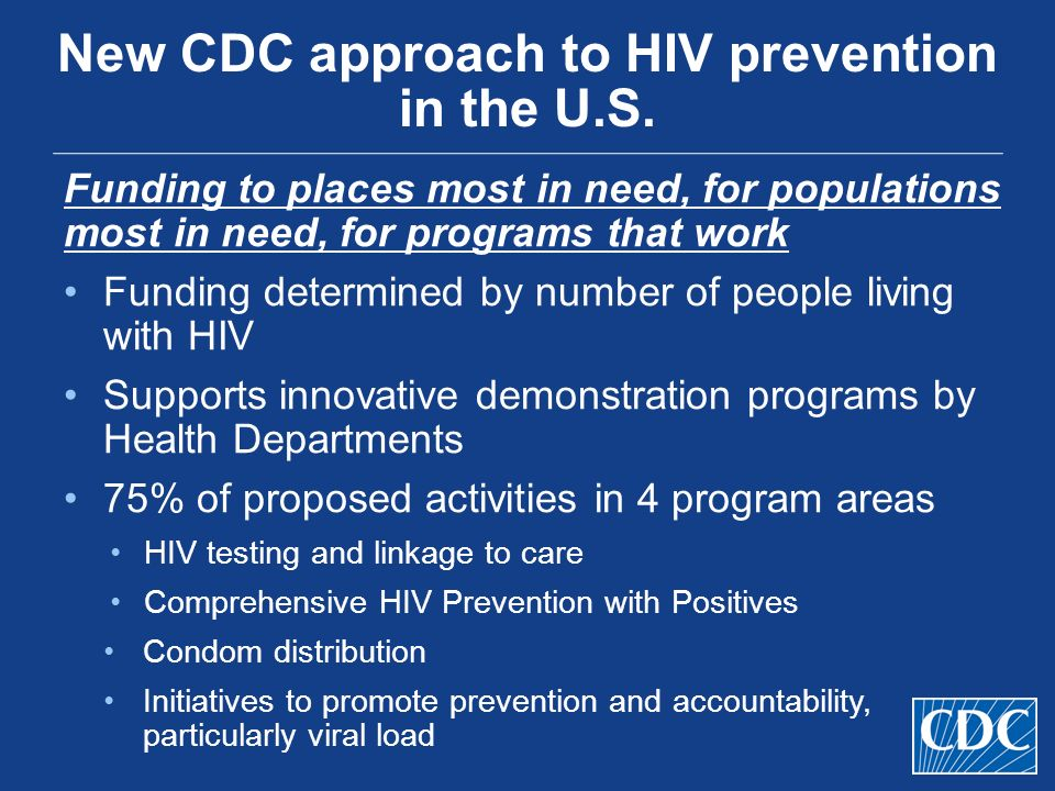 New CDC approach to HIV prevention in the U.S.