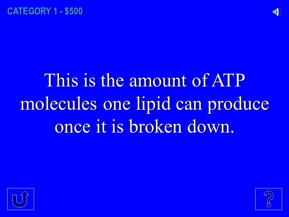 CATEGORY 1 - $400 This type of carbon based molecules yield the most ATP production.