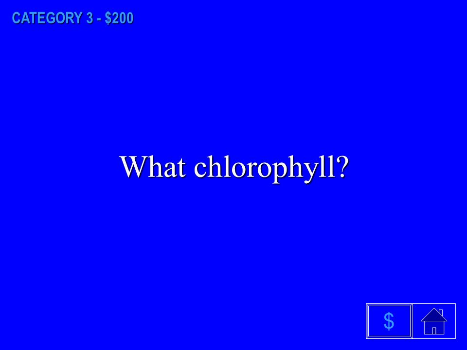 CATEGORY 3 - $100 What is photosynthesis $