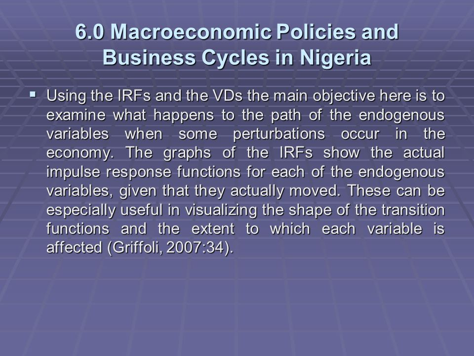 Macroeconomic Policies and Business Cycles in Nigeria: By Philip O