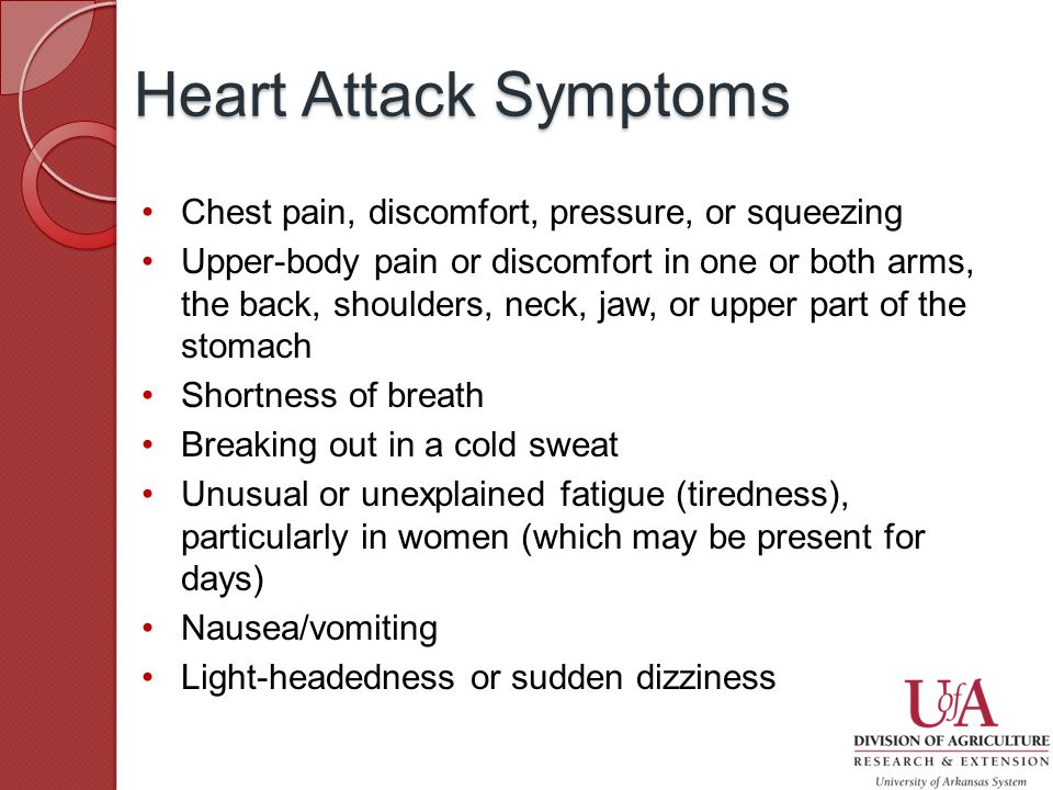 Chest pain, discomfort, pressure, or squeezing Upper-body pain or discomfort in one or both arms, the back, shoulders, neck, jaw, or upper part of the stomach Shortness of breath Breaking out in a cold sweat Unusual or unexplained fatigue (tiredness), particularly in women (which may be present for days) Nausea/vomiting Light-headedness or sudden dizziness Heart Attack Symptoms