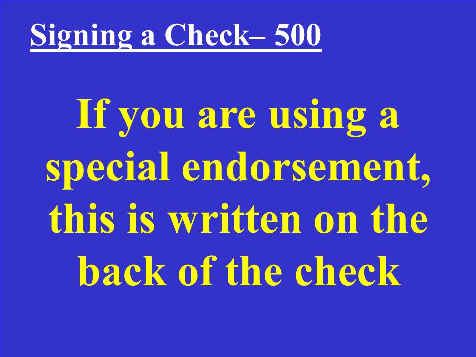 What is a special or full endorsement