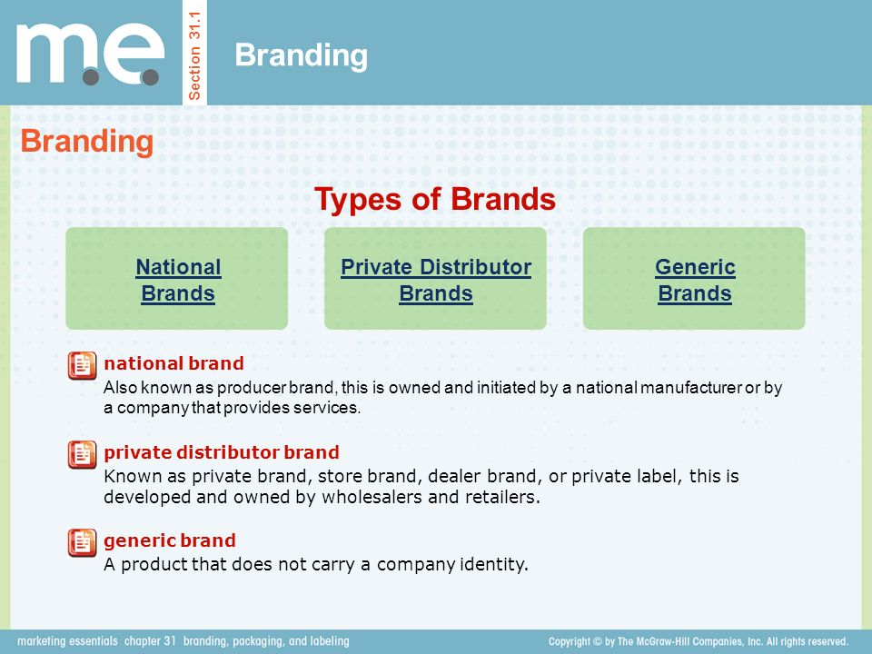 Branding Section 31.1 Types of Brands National Brands Private Distributor Brands Generic Brands national brand Also known as producer brand, this is owned and initiated by a national manufacturer or by a company that provides services.
