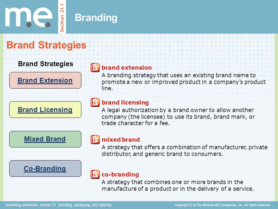 Branding Brand Strategies Section 31.1 Brand Strategies brand extension A branding strategy that uses an existing brand name to promote a new or improved product in a company's product line.
