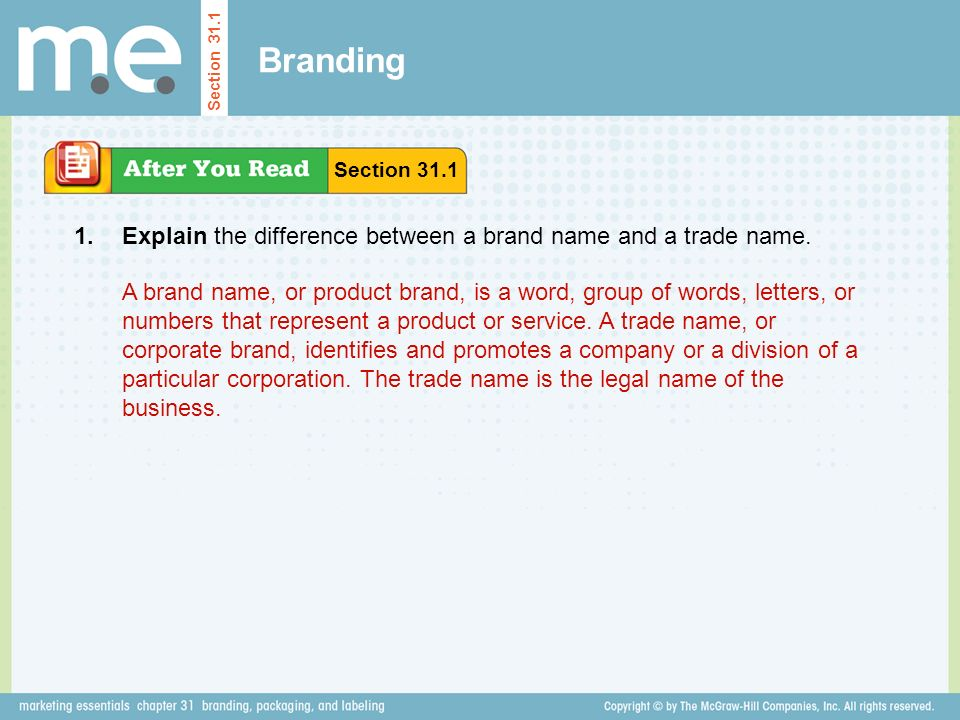 Branding Explain the difference between a brand name and a trade name.