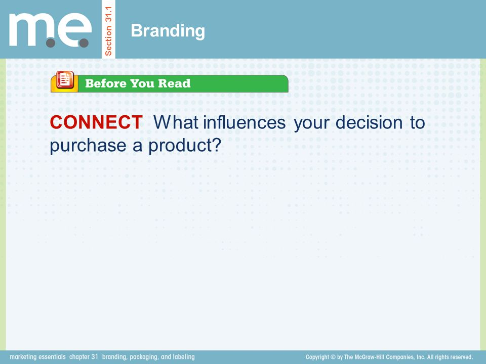 CONNECT What influences your decision to purchase a product Branding Section 31.1