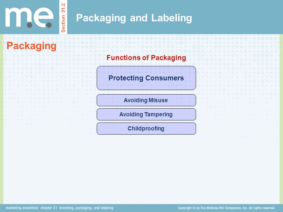 Packaging and Labeling Section 31.2 Packaging Protecting Consumers Functions of Packaging Avoiding Misuse Avoiding Tampering Childproofing