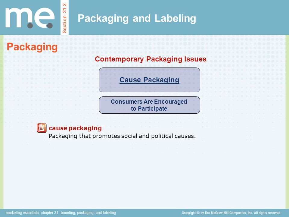 Packaging and Labeling Section 31.2 Packaging Cause Packaging Consumers Are Encouraged to Participate Contemporary Packaging Issues cause packaging Packaging that promotes social and political causes.