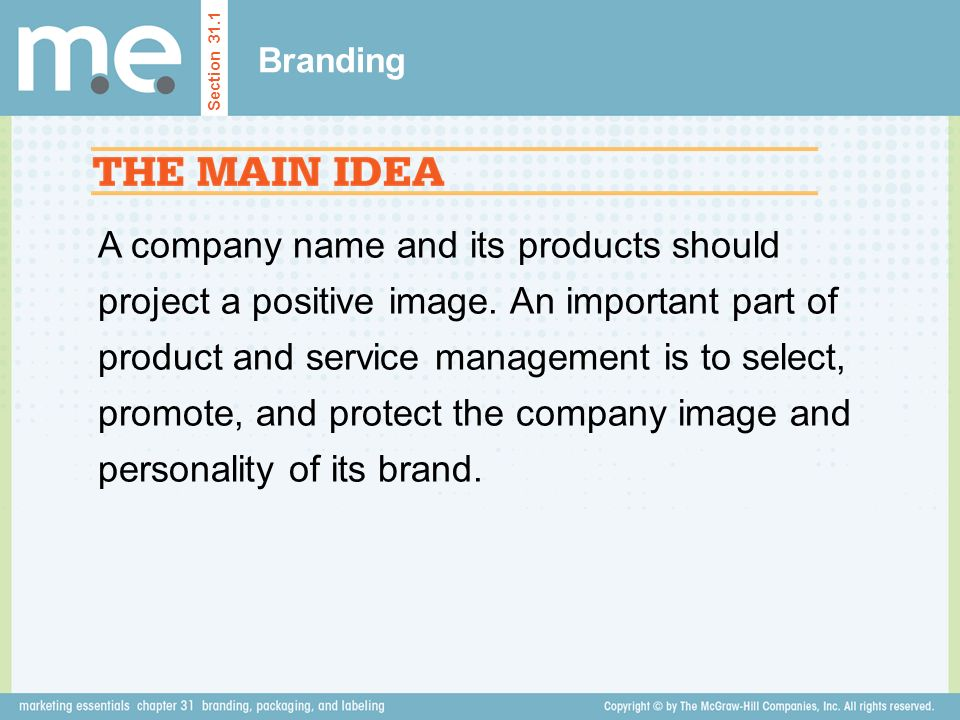 A company name and its products should project a positive image.